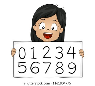 Illustration of a Hindu Kid Girl Showing Arabic Numeral System