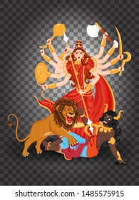 Illustration of Hindu Mythology Goddess Durga Maa character png background for Navratri or Durga Puja Festival.
