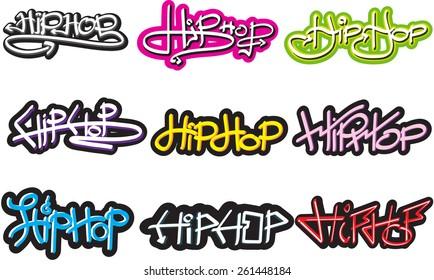 Illustration - HIPHOP font grffiti style.