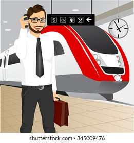 illustration of hipster businessman with briefcase talking on the phone standing on the platform at the train station and waiting for the train