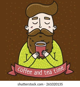 Illustration hipster drinking coffee