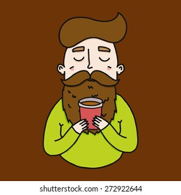 illustration hipster man with a glass