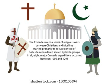 illustration of history, The War of Crusades, The battle between the two religions to usurp Jerusalem, Crusade Knights and Islamic Warriors, History of the War for the Holy Land