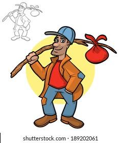 Illustration of a hobo holding his bindle sack/Vector Hobo Cartoon