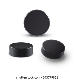 Illustration of Hockey puck isolated on white with shadow