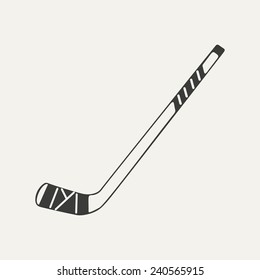 illustration of hockey stick. Black and white style