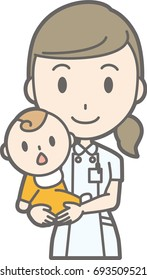 Illustration holding a baby by a nurse wearing a white suit