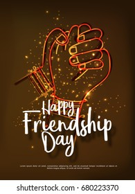 Illustration Of Holding Hands,Promise Friends Forever,Beautiful Greeting Card Design For Happy Friendship Day.