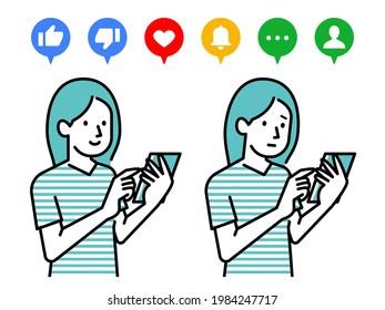 Illustration de la détention d'un smartphone en main et de la réaction au SNS