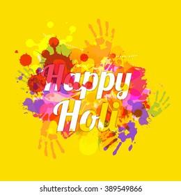 Illustration of holi background with colorful splash grunge background.