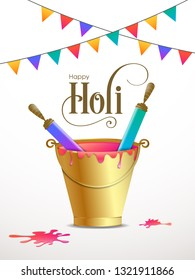 Illustration of Holi Festival with beautiful pichkari,bucket and colorful intricate calligraphy vector.