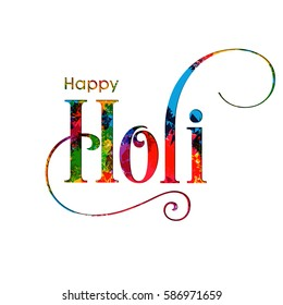 Illustration of Holi Festival with colorful intricate calligraphy vector.