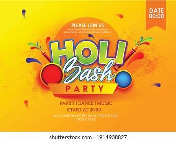 illustration of Holi flyer Festival of Colours, Happy Holi celebration design
