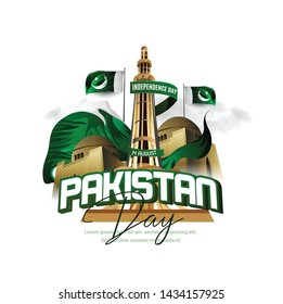 illustration of holiday 14 August is the day of independence of Pakistan. symbolic green colors and people silhouettes with flag