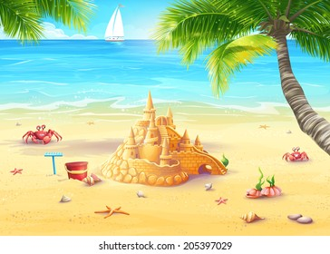 Illustration holiday by the sea with sand castle and merry mushrooms