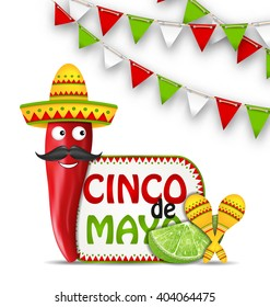 Illustration Holiday Celebration Background for Cinco De Mayo with Cartoon Character of Chili Pepper, Sombrero Hat, Maracas, Piece of Lime, Bunting Decoration with Traditional Mexican Colors - Vector