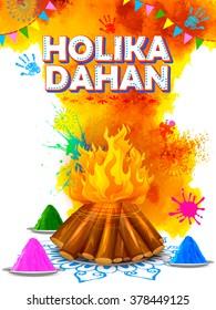 illustration of Holika Dahan (Burning Holika, the devil) background for Holi celebration