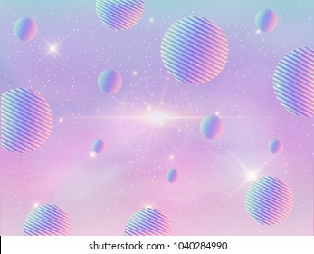 Illustration of holographic fantasy background and pastel color. geometric pattern in holographic sky.
