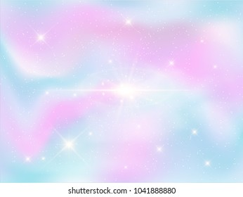 Illustration of holographic fantasy background and pastel color.