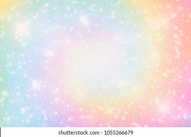 Illustration of holographic fantasy rainbow background and pastel color.