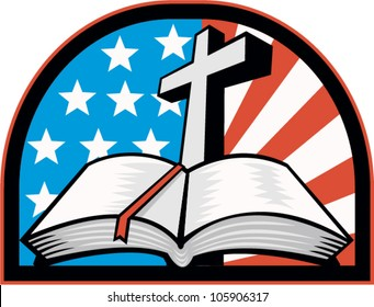 Illustration of the holy bible with cross and American flag stars and stripes.