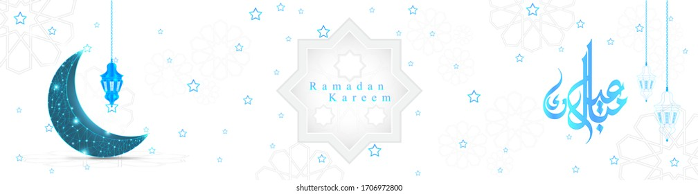 illustration of holy ramadan kareem with islamic symbol crescent with digital style for eid mubarak days.greeting card of ramadan kareem in calligraphy-Vector