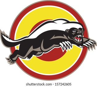 Illustration of a honey badger (Mellivora capensis) mascot also known as ratel leaping viewed from side set inside circle on isolated white background.