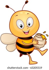 Illustration of a Honeybee Character Carrying a Jar of Honey
