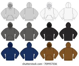 Illustration of hoodie hooded sweatshirt color variations