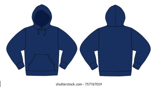 Illustration of hoodie (hooded sweatshirt) / Navy color