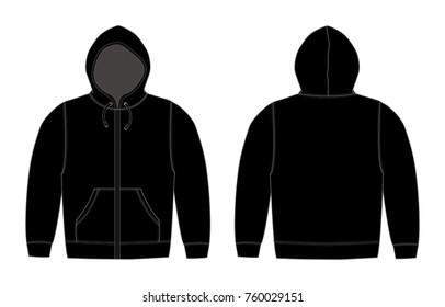 Illustration of hoodie (hooded sweatshirt) , zip up parka / black