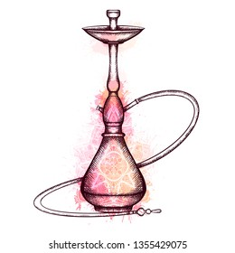 Illustration of hookah with hatching, pink watercolor splashes and tracery white zen mandala. Vector engraving element for menu, cards and your design.