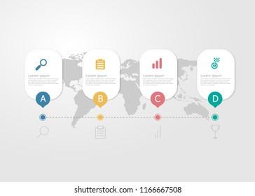 illustration of horizontal timeline infographics 4 steps for business presentation vector flat background