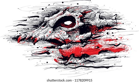 Illustration of a horrifying Blood Demon with a skull face, horns and blood streaming and flowing out of its screaming mouth.