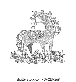 Illustration with horse