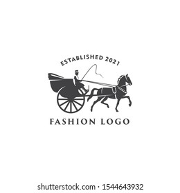Illustration horse cart drawn classic retro logo design template