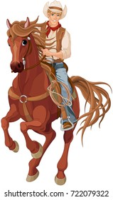Illustration of horse riding cowboy