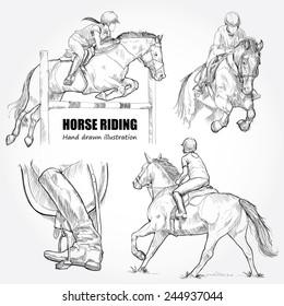 Illustration of Horse Riding. Hand drawn.