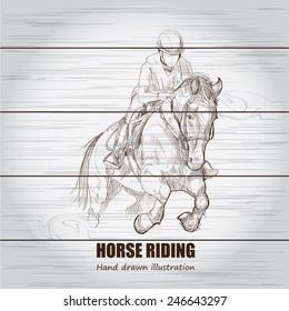 illustration of horse riding. wood board background.