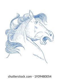 Illustration of horse with shock expression, vector illustration
