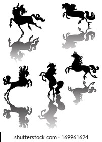 illustration with horse silhouettes collection isolated on white background