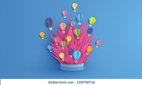 Illustration of hot air balloon floating up from explosion box. Abstract hot air balloon design in paper art style. paper cut and craft style. vector, illustration.