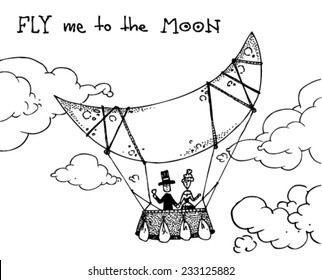illustration of a hot air balloon with the moon, a man and a woman, clouds/vector fly me to the moon - moon balloon - black and white/digital vector