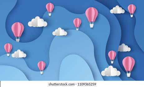 Illustration of hot air balloons on abstract sky background. Hot air balloon float up in the sky. paper cut and craft style. vector, illustration.