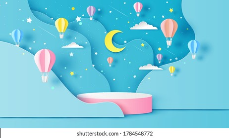 Illustration of hot air balloons on abstract night sky background with circular stage podium and blank space. paper cut and craft style. vector, illustration.