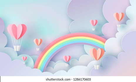 Illustration of hot air balloons in shape of heart float up on rainbow sky background. pastel color. Paper cut design for valentine's day. paper cut and craft style. vector, illustration.