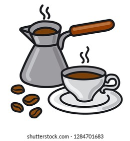 illustration of hot coffee drink and coffee pot