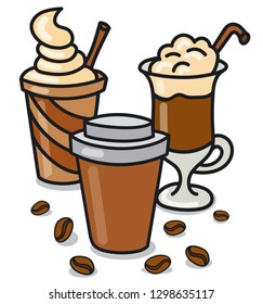 illustration of hot coffee drinks and beverages