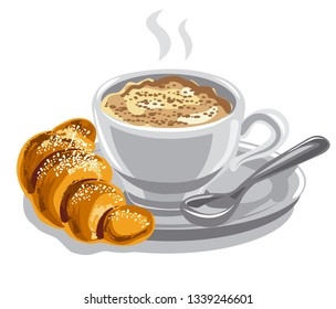illustration of the hot coffee with milk and croissant
