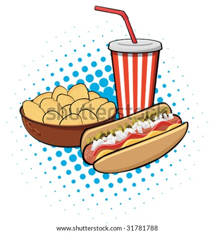 Illustration Hot Dog Potato Chips Drink Stock Vektorgrafik